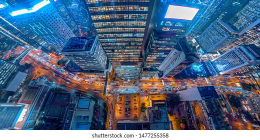 Panorama aerial view of Hong Kong Nightscape in Central