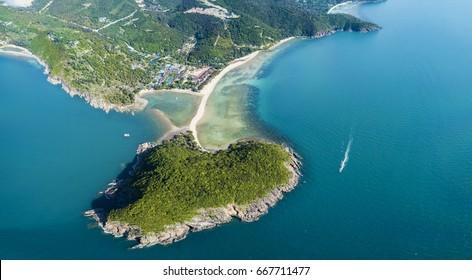 Panorama aerial view koh Maa and Mae Haad Beach on background, Phangan island, Thailand