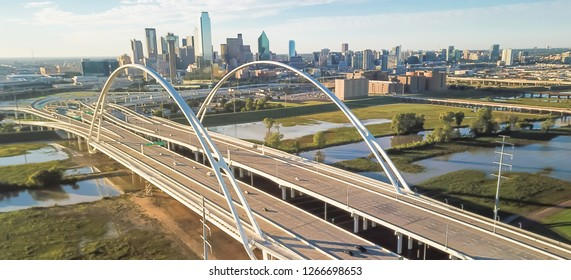 Panorama aerial view Margaret McDermott Bridge, flooded Trinity river and Dallas downtown skylines