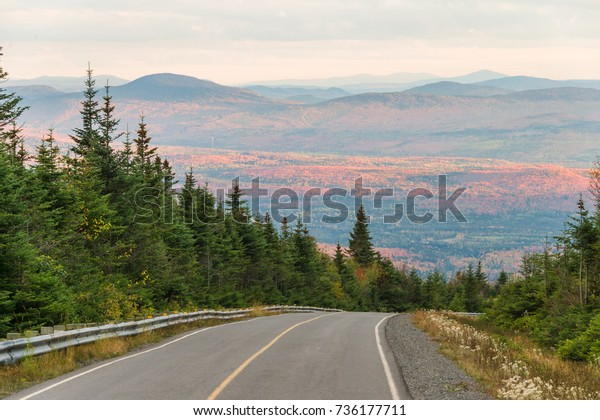 Panorama aerial view from Megantic Mount in the Eastern Townships, Quebec Province, Canada