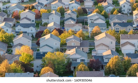 Panorama Aerial view of a modern housing estate with trees