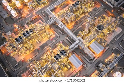 Panorama aerial view of oil and gas refinery industrial - Refinery plant industry at twilight.