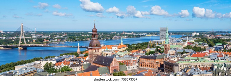 panorama aerial view of Old Town, Riga, Latvia
