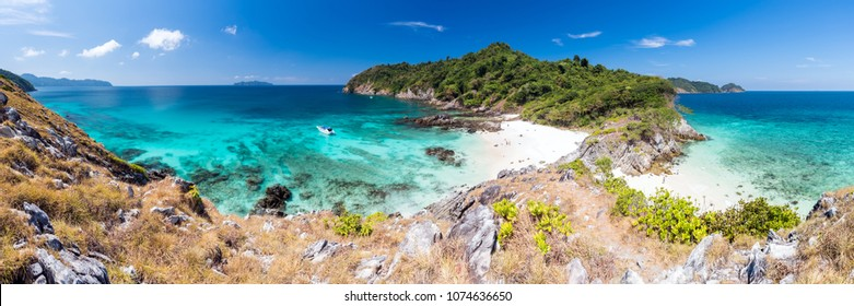 Panorama Aerial View point of Tropical white sand beach and snorkel point at cockburn island andaman sea indian ocean Myanmar and Thailand.