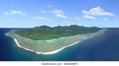 Panorama aerial view of Rarotonga, Cook Islands.  Polynesia tropical island paradise landscape. Copy space