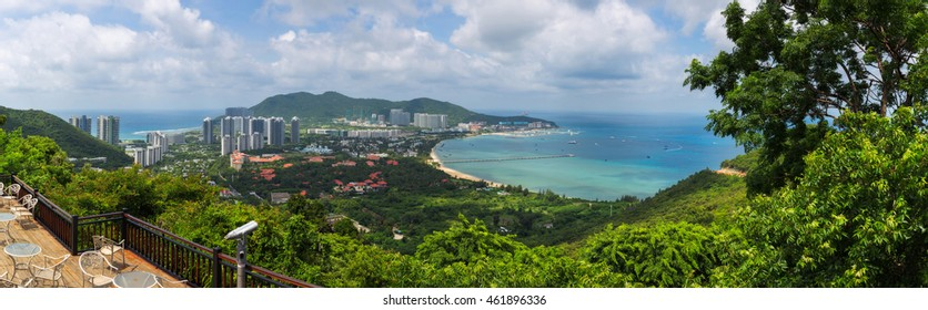 Panorama aerial view of Sanya city and Dadonghai bay from Luhuitou Park in Hainan province, China