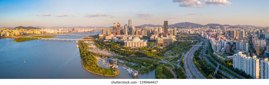 Panorama  Aerial view of Seoul city Skyline,South Korea