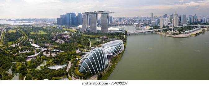 panorama aerial view of singapore in day time on sunny time