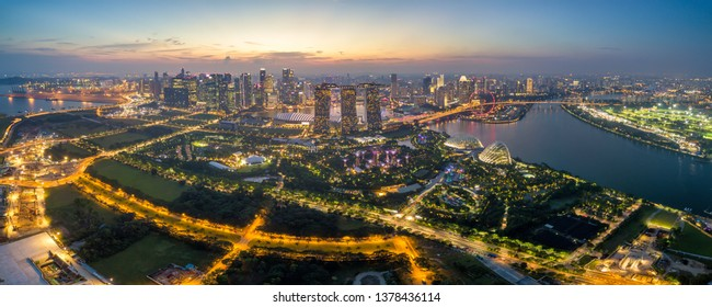 Panorama aerial view of the Singapore landmark financial business district at twilight sunset scene with skyscraper and beautiful sky. Singapore downtown
