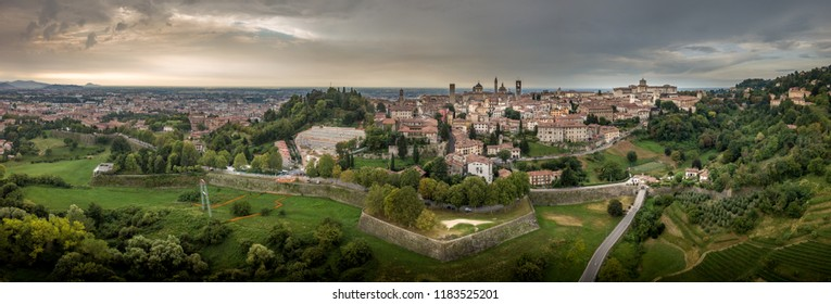 Panorama aerial view of the upper town fortifications of Bergamo Italy