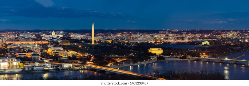 Panorama Aerial view of Washington DC cityscape from Arlington Virginia USA.