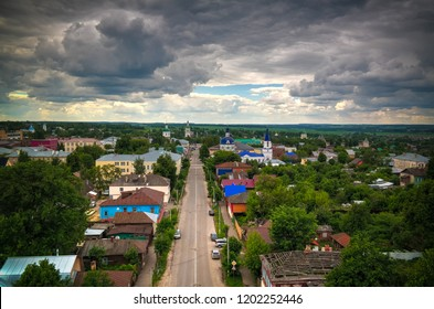 Panorama aerial view to Zaraysk and Church Of Elijah The Prophet from Old water tower at Moscow region, Russia