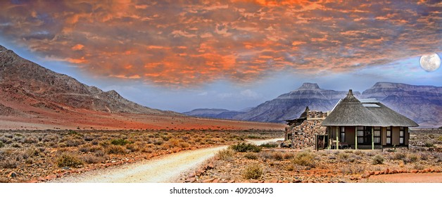 Panorama of an african sky with a lodge in Damaraland