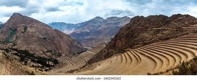 Panorama of aged agricultural terraces at the Incan ruined fortress of Pisac, Peru
