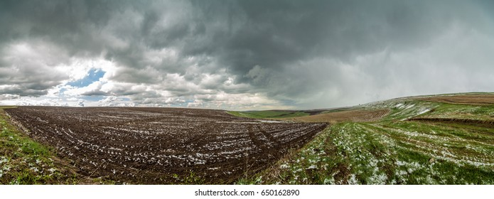 Panorama of agricultural fields in the highlands.
