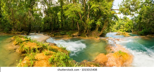 Panorama of Agua Azul waterfall near Palenque in Chiapas, Mexico