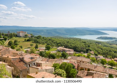 Panorama of Aiguines and its castle above lake sainte croix in Provence, France