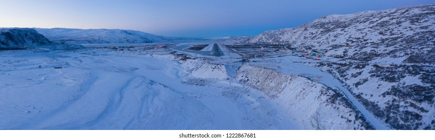 Panorama of airport in winter landscape, Greenland