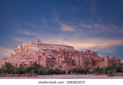 Panorama of Ait Benhaddou Casbah at sunset near Ouarzazate city in Morocco, Africa. Ait Benhaddou is a fortified city, or palace, along the former caravan route between the Sahara and Marrakech.