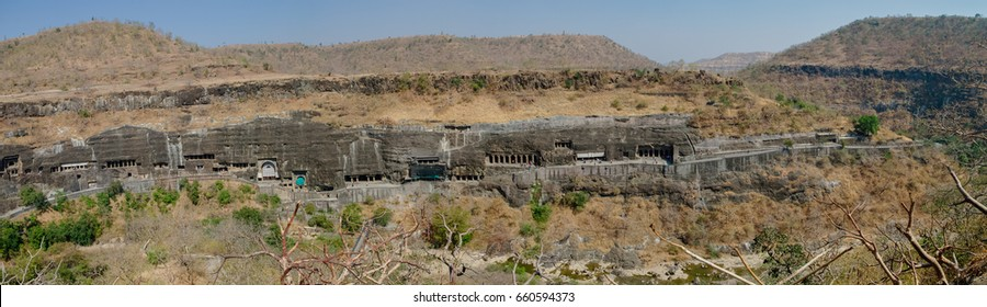 Panorama of Ajanta caves near Aurangabad, Maharashtra state in India. amazing site of ancient buddhist temples, carved in the rock as large caves. Started 2nd century BC. Unesco World Heritage