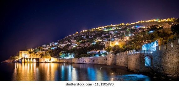 Panorama of Alanya Castle at night ,Located in Harbor street in  Turkey