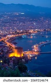 Panorama of Alanya, Turkey at night