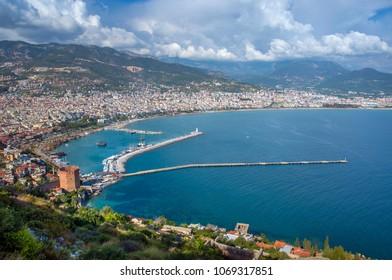 Panorama of Alanya, Turkey in spring