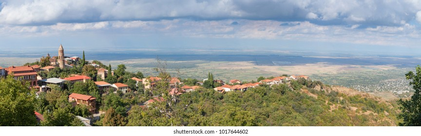 Panorama of the Alazani Valley with views of the city Sighnaghi.Georgia.