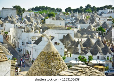 Panorama of Alberobello. Alberobello is well-known for the trulli houses. From 1996 trulli houses of Alberobello are protected under UNESCO. At Alberobello city, Italy. In May 2018.
