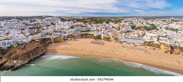 Panorama of Albufeira aerial in Algarve region, Portugal, Europe