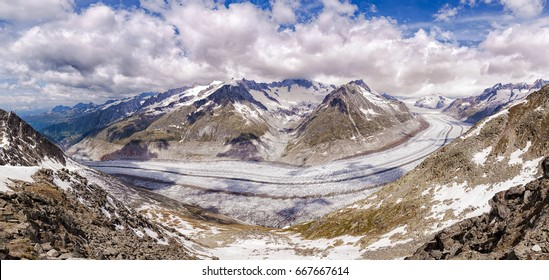 Panorama of the Aletsch glacier from Eggishorn, eastern Bernese Alps in the Swiss canton of Valais