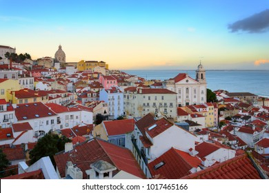 Panorama of Alfama, the oldest and charming district of Lisbon, Portugal