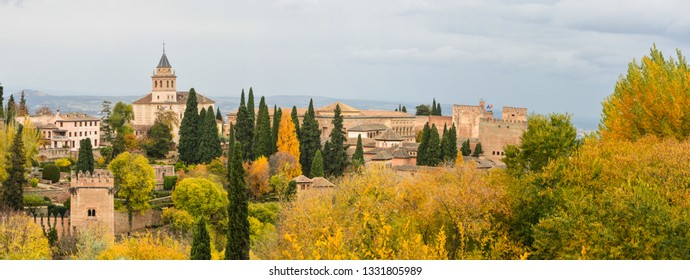 Panorama of the Alhambra in Granada. Hill of La Sabica and the Alhambra in the city of Granada, Andalusia, Spain.