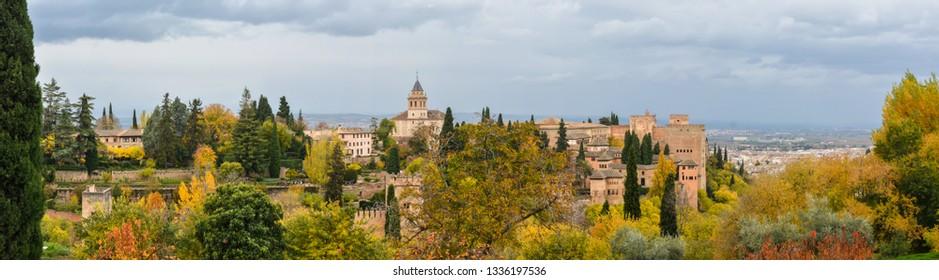 Panorama of the Alhambra in Granada. Hill of La Sabica and the Alhambra in the city of Granada, Andalusia, Spain.