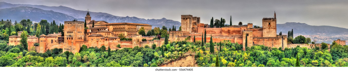 Panorama of the Alhambra, a palace and fortress complex in Granada, Spain. UNESCO heritage site