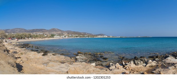 Panorama of Aliki beach - Paros Cyclades island - Greece