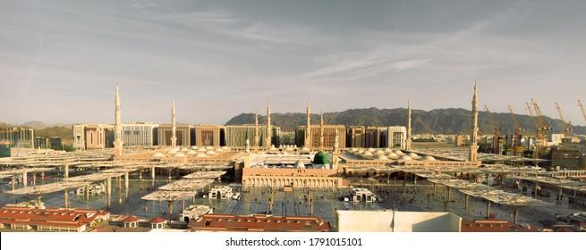 Panorama Al-Masjid an-Nabawi (Prophet's Mosque) in Medina city, Saudi Arabia