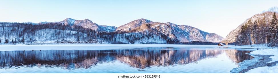 Panorama of the Almsee, an alpine Lake in Salzkammergut, Austria