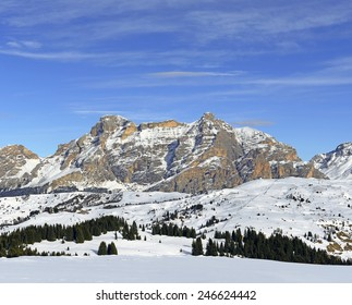 Panorama Alpe di Fanes, view from mountain huts Cherz, Alta Badia, Dolomites, South Tyrol, Italy - The Dolomites are UNESCO World Heritage Site.