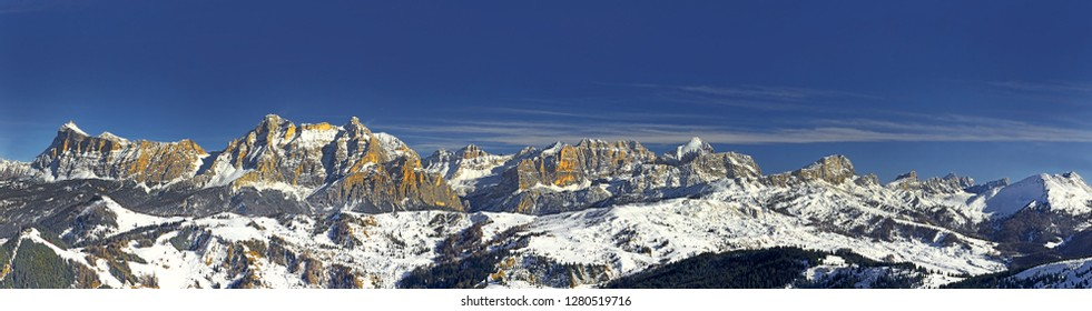 Panorama Alpe di Fanes from the west, Alta Badia, Dolomites, South Tyrol, Italy - The Dolomites are UNESCO World Heritage Site.