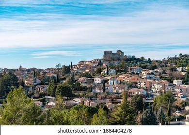 Panorama of Gréoux-les-Bains, Alpes de Haute Provence, France - Shutterstock ID 1884404278