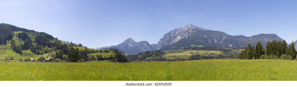 panorama of alpine region named ennstal in styria,austria