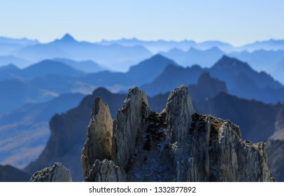 Panorama  in the Alps with a majestic view on the peaks of the Ecrins Massif National Park, France.