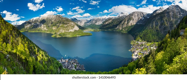 Panorama of Alps mountains above the famous Hallstatt village, Austria