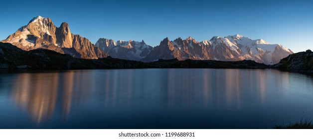 Panorama of the Alps near Chamonix, with Aiguille Verte, Les Drus, Auguille du Midi and Mont Blanc.
