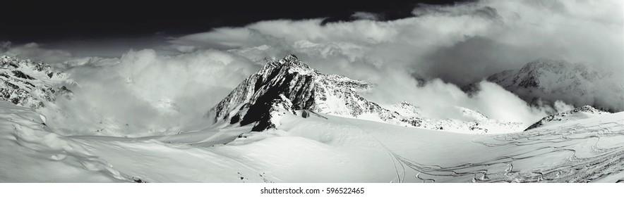 Panorama of Alps from Solden Glacier, Solden, Tyrol, Alps. Black and white.