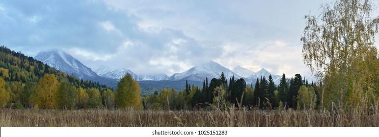 Panorama of Altai Mountains.