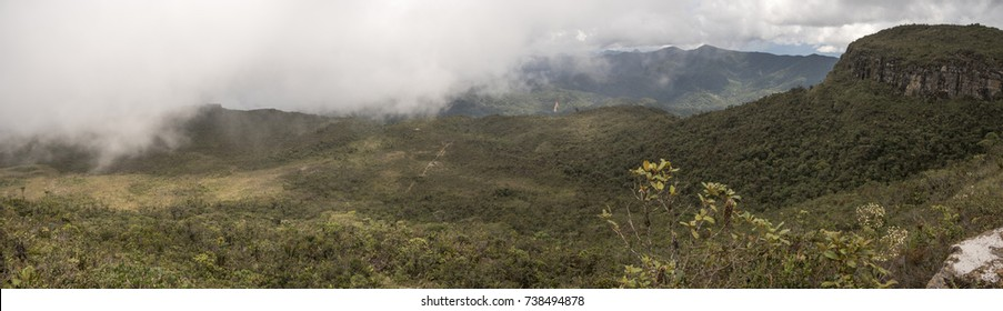 Panorama of Alto Paquisha Tepuy (a flat topped sandstone mountain) in the Cordillera del Condor on the border between Ecuador and Peru. A site of exceptional biodiversity and endemism.