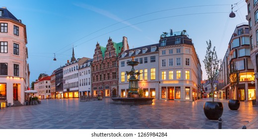 Panorama of Amagertorv square, Stroget street during morning blue hour, Copenhagen, capital of Denmark