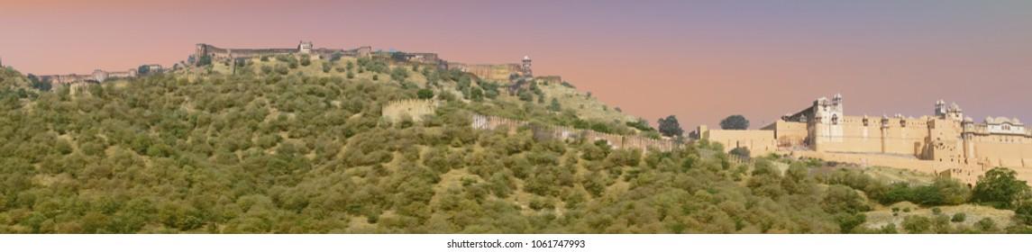 Panorama of  Amber Fort near  Jaipur, Rajasthan, India